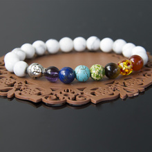8mm White Howlite Stone Beads 7 Chakra Healing Balance Buddha Bracelet For Women and Men Lava Yoga Reiki Prayer Bijoux