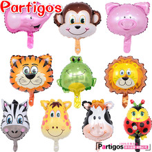 10pcs/lot Mini Zebra Tiger monkey lion deer cow Ladybug Animals Head Helium Foil Balloons Animal Air Ballons theme party suppies(China)