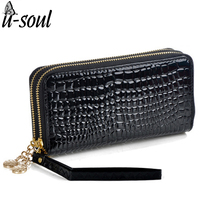 Purse Women Patent Leather Purses Women Wallets Luxury Brand Wallet Double Zipper Day Clutch Black Purse sc0065