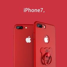 360 Rotate Bear Ring phone case for iphone 6 6s Plus Solid Metallic paint mobile phone cover for iphone7 7Plus Red back case(China)