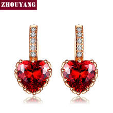 Classic Design Red Heart Rose Gold Color Cushion Cut Big Cubic Zirconia Wedding Hoop Earrings for Women ZYE818