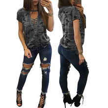 Summer Women Sexy Lace Up T-Shirt Camouflage V Neck tops Ladies Tshirt Loose Bandege Tee Female ropa casual mujer plus size 2017