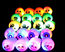 50PCS Halloween Party LED Glowing Finger Rings Light Flashing Birthday Kids Children Soft Rubber Night Light Party Club Toy