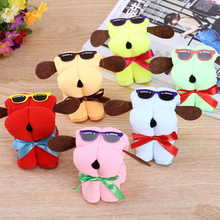 Random Color 5pcs Cute Dog Shape Cotton Cake Towel Creative Mother's Day Wedding Persent Birthday Gifts(China)