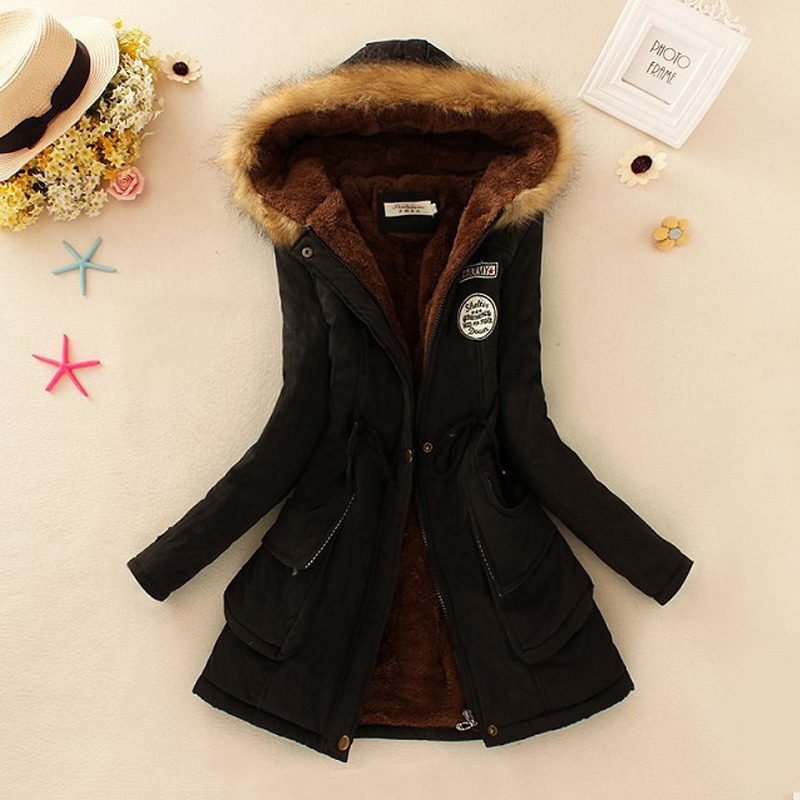 New Winter Coat Women Slim Plus Size 3XL Outwear 2017 Medium-Long Wadded Jacket Thick Hooded Cotton Wadded Warm Cotton ParkasОдежда и ак�е��уары<br><br><br>Aliexpress