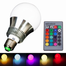 New Arrival RGB E27 E14 5W/10W AC85-265V LED Bulb Lamp with Remote Control Multiple Colour LED Lighting Free Shipping(China)