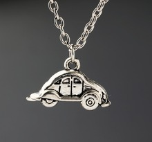 Volkswagen Beetle Necklaces Vintage Alloy Jewelry Antique Silver Car Pendant Necklace Charms Women Girl Gift New 1PCS