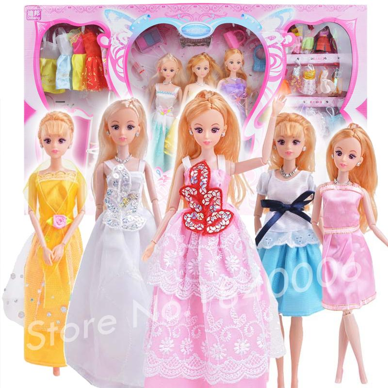 33 Item/Set=3 Dress Princess Doll + 1 baby doll + 23 fabric soft Clothes +6 Accessories luxury Fashion Gift box For Barbie Doll<br><br>Aliexpress