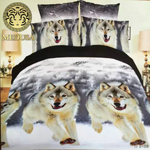 Medusa 3d wolf king/queen/twin size 3/4pcs bedding set of duvet/doona cover bed sheet pillow cases bed linen set(China)