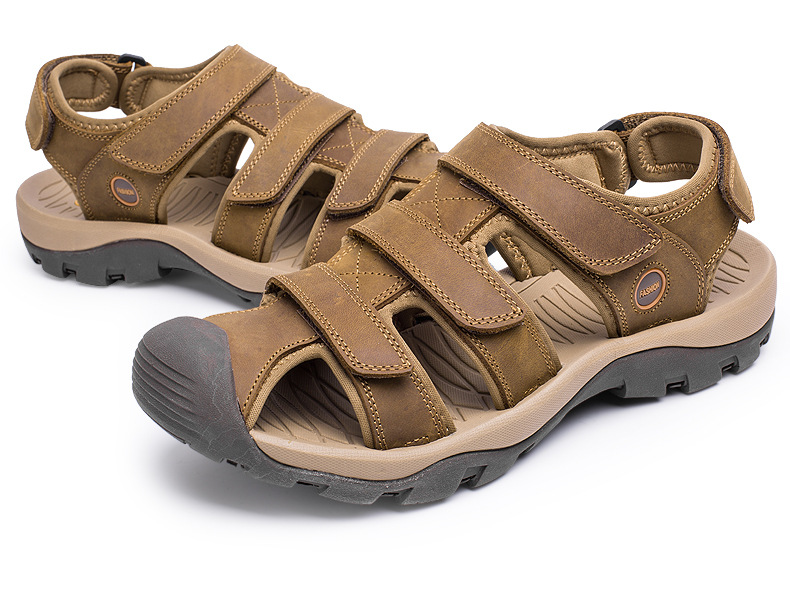 Summer Man Sandals Beach Shoes 2018 High Quality Genuine Leather Prevent Slippery Wear-resisting Outdoor Sandals Large Size 46 7 Online shopping Bangladesh