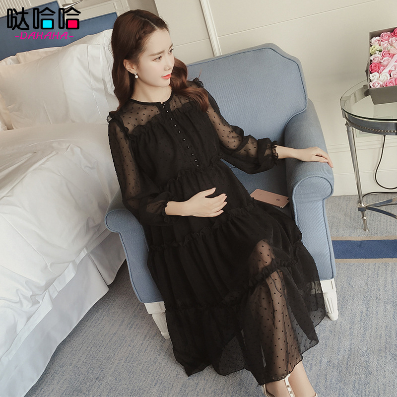 Ladies pregnancy Lace Womens maternity dresses clothes Girls dress for pregnant women Spring Summer fall costumes Black Cheap<br>