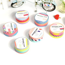 3 rolls/lot 7mm*5m Cute Japanese Washi Tape Polka Dots Colorful Kawaii DIY Deco Scrapbooking Notebook Diary Masking Tape