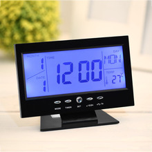 2017 Home Use Voice Control Back-light LCD Alarm Desk Clock Weather Monitor Calendar With Thermometer(China)