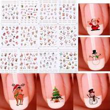 TOMTOSH 12 Sheet Christmas 3D Nail Art Stickers Snowflakes & Cute Snowmen Nail Decals(China)