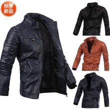 Men's motorcycle leather fashion warm jacket 2017 new fund sell like hot cakes men pack(China)