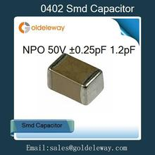 1000pcs/lot 1.2pF NPO Tolerance 0.25pF 50V 0402 smd capacitor  good quality supplier