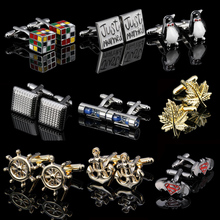 WN promotion!Super hero cufflinks wholesale retail rubik's cube anchor pilot time mixed fashion novelty cufflinks free shipping