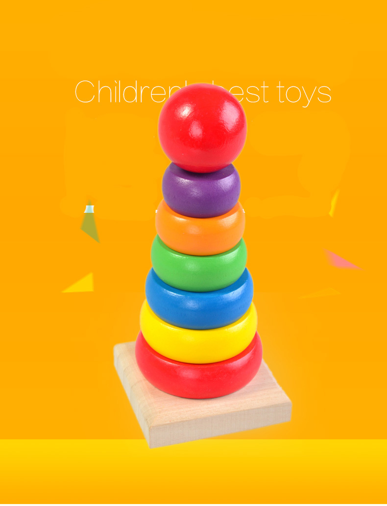 Children Baby wooden toys Rainbow Tower blocks baby's Educational early learning toy model building kits multicolour kids game 2