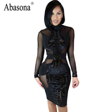 Women Black Sexy Lace Bodycon Dress 2017 New Summer Style Long Sleeve Celebrity Night Club Wear Bandage Party Dresses