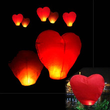50% shipping fee 100pcs Red Heart Sky Lanterns Chinese Paper Sky Candle Fire Balloons for Wedding / Anniversary / Party