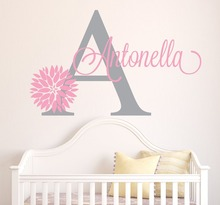 Personalized Flowers Name Wall Decal Girls Kids Room Decor -Nursery Wall Decals vinyl sticker for Girls Room(China)