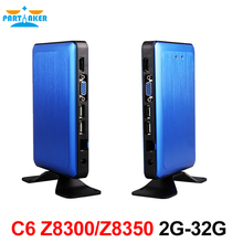 Win 10 Mini PC With Intel Cherry Trail Z8300 Quad Core Blue Aluminum alloy Shell Digital Signage PARTAKER C6(China)
