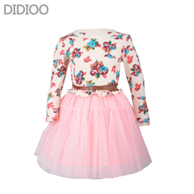 Girls Autumn Dress Fashion Cute Floral Prints Long Sleeve Mesh Princess Dress Childrens Clothing Designed For 4-14 Girls(China)