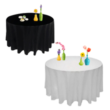 Round Oilproof Table Cloth Wedding Decoration Satin Waterproof Tablecloth Table Cover Party Restaurant Banquet Home Black White