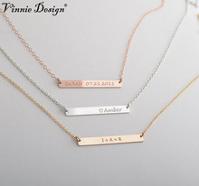 Vinnie Design DIY Horizontal Necklace can be completed by your custom engraved name making it a fine statement Stainless Steel(China)