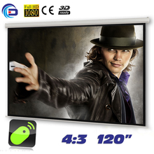 120 inches 4:3 Electric Projector Screen Motorized pantalla proyeccion Projection Screen for LED LCD HD Movie(China)
