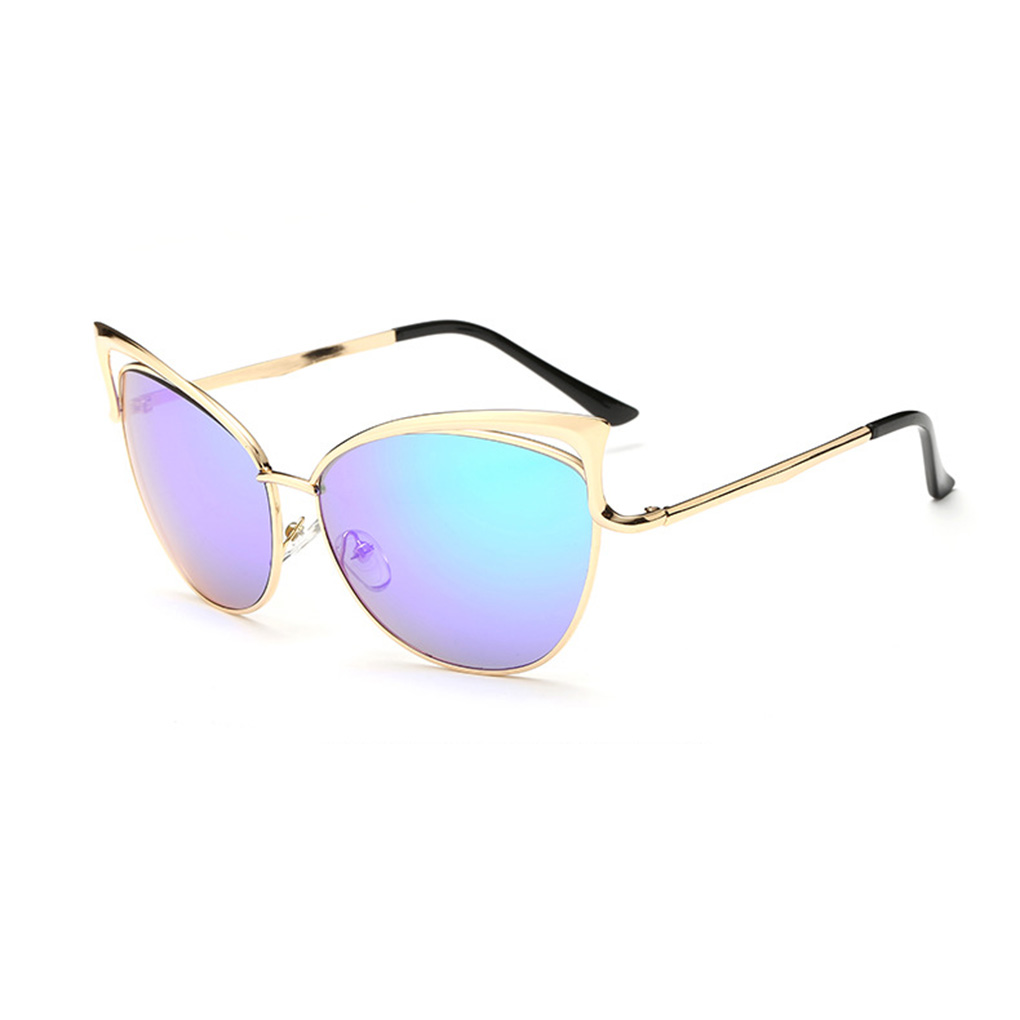 Mens Womens Cat Ear Hollow Frame Glasses UV 400 Protection Sunglasses for Shopping(China (Mainland))