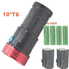 LED Flashlight 10T6 King 18650 Torch Light High Brightness 10x T6 Waterproof Flash Lights  with 4x 18650 Battery