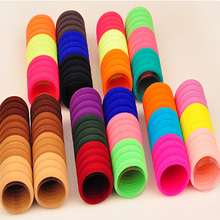 100PC Mix Colors Scrunchy Hair Ties Hair Holders Rubber Elastic Hair Bands Ties Rope Head Bands Ponytail Holder Hair Accessories(China)