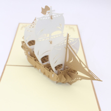 3D Laser Cut Handmade Carving Gold Sailing Boat Paper Invitation Greeting Cards PostCard Business Party Creative Gift Souvenir