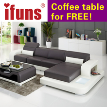 IFUNSmodern leather sectional sofa LED corner chesterfield l shape cow leather extra sofa set home furniture (fr)