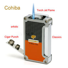 Cohiba Classic 3 Torch Jet Flame Cigar Lighter With 2 Punch Butane Gas Cigarette Windproof Metal Lighters Gift Box(China)