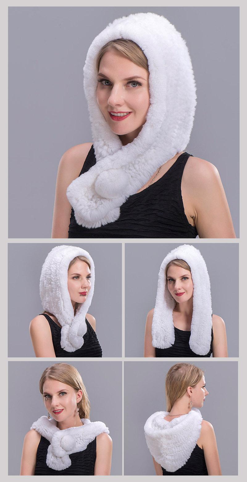 rex rabbit fur scarf hat white