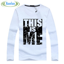 Port&Lotus Men T Shirt Cotton Long Sleeve Young Style Letter Printed Slim Fit Fitness Men Clothes 168 wholesale(China)