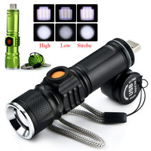 Portable LED Flashlight CREE Q5 2000LM Mini Spot Lamp USB Pocket waterproof Rechargeable Torch Built-in battery for camping(China)