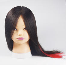 "Free Shipping 100 Human Hair Mannequin Training Head Dummy Mannequin 16"" Natral Black Color Mannequin Doll Head For Baber School(China)"