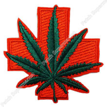 Medical Cross Medicinal Pot Leaf Hemp retro boho hippie applique iron-on patch Wholesale clothing(China)