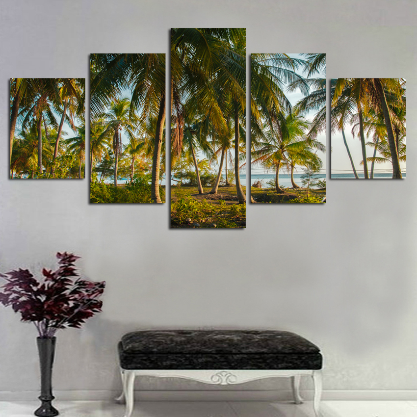 Home-Decor-Canvas-HD-Prints-Poster-Living-Room-Unframe-5-Pieces-Beach-Coconut-Tree-Seascape-Paintings (1)
