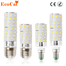 ECO CAT LED Lamp E27/ E14 3 Color Temperature Integrated LED Bulb 7W 10W Super Bright LED Corn Light 220V SMD2835 for Chandelier