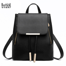 BRIGGS New Women Backpack For Teenage Girls Preppy Style School Bag PU Leather Backpacks Ladies High Quality Top-handle Backpack(China)