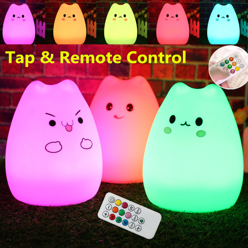 Rechargeable Cat USB LED Night Light Lamp For Children Silicone Animal 7 Color Changing Night Lamps For Bedroom With Remote(China (Mainland))