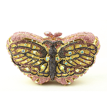Pink Butterfly Evening Bags Cocktail Crystal Clutches Outlet Cheap Special Occasion Bags Discount Designer Purses for Weddings(China)