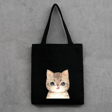 Printed fashion Canvas shopping bag Environmental protection storage bag cute cat supermarket trolley bag large capacity handbag