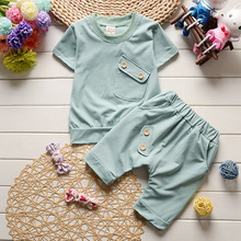 New 2017 Summer Baby Boys Girls Clothes Sets Casual Style Infant Cotton Suits Sports T Shirt+Pants 2 Piece Kids Children Suits