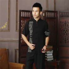 Discount Black Chinese Men's Short-Sleeve Kung Fu Shirt Top Novelty Embroidery Tang Suit Clothing Size S M L XL XXL XXXL