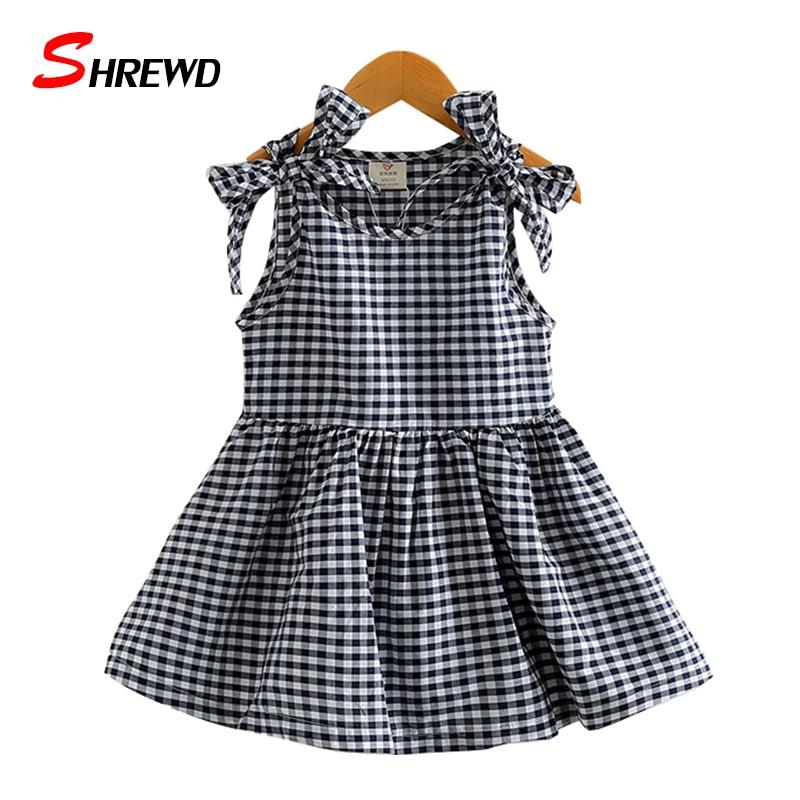 Dress Girl Kids 2017 Summer New Casual Plaid Dress For Girl Kids Bow Sleeveless O-neck Simple Children Clothing 4924Z<br><br>Aliexpress